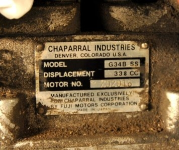Chaparral Fugi G34B SS 338cc motor #202016 very rare made exclusively for Chaparral $375.00